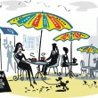 Vector illustration of sitting at outdoor cafe with colorful umbrellas. — Stock Vector