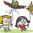 Vector cartoon of boy and girl flying kites. — Imagens vectoriais em stock