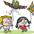 Vector cartoon of boy and girl flying kites. — Stockvectorbeeld