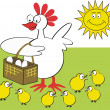 Vector illustration of happy hen with basket of eggs and chickens. — Stock Vector