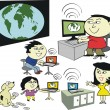 Vector cartoon of happy Asian family using internet with laptops and computer. — Stock Vector