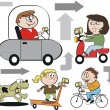 Vector illustration of happy family group using navigation devices such as GPS. — Stock Vector