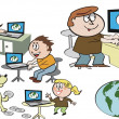 Vector cartoon of happy family using internet on computers. — Stock Vector