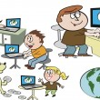Stock Vector: Vector cartoon of happy family using internet on computers.