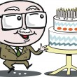 Vector cartoon of mature age man with birthday cake. — Stock Vector