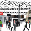 Vector illustration of commuters at London railway station, England. - Vettoriali Stock
