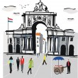 Stock Vector: Vector illustration of Lisbon city square with old archway, Portugal.