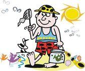 Vektör karikatür net plajı ile balık tutan çocuk — Stok Vektör