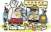 Vector cartoon of man on beach with sun lotion — Stock Vector