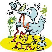 Vector cartoon of bird struggling with worm — Stock Vector