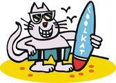 Funny cat surfing vector cartoon — Stock Vector