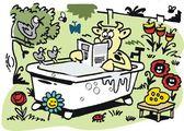 Vector cartoon of cow relaxing in bath — Stock Vector