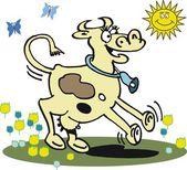 Dibujos animados de vector de vaca bailando feliz — Vector de stock