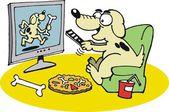 Vector cartoon of happy dog watching television — Stock Vector