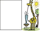 Dibujos animados de vector de jirafa feliz con largo trago largo — Vector de stock