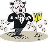 Vector cartoon showing operatic tenor singing — Stock Vector