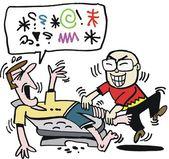 Vector cartoon of Asian foot massage — Stock Vector
