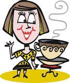 Vector cartoon of happy woman with coffee cup — Stock Vector