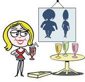 Vector cartoon of happy woman drinking diet milkshake products. — Stock Vector