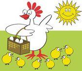卵と鶏のバスケットと幸せな鶏のベクトル イラスト. — ストックベクタ