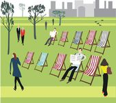 Vector illustration of London park with deckchairs and relaxing. — Stock Vector