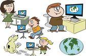 Vector cartoon of happy family using internet on computers. — Stock Vector