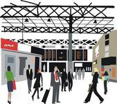 Vector illustration of commuters at London railway station, England. — Stock Vector