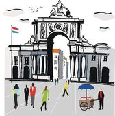 Vector illustration of Lisbon city square with old archway, Portugal. — Stock Vector
