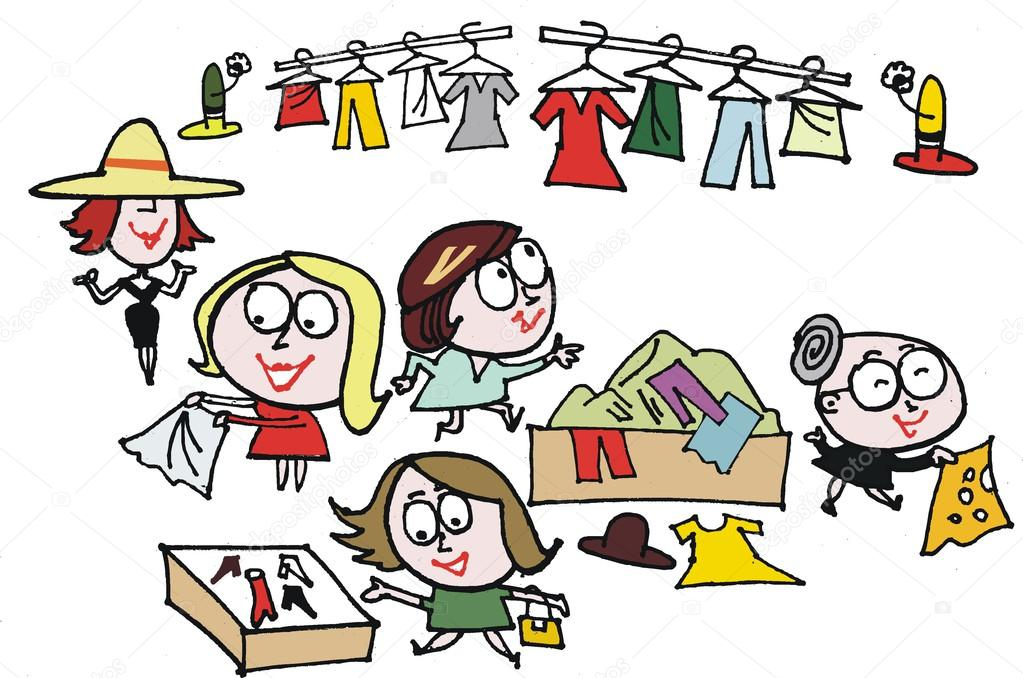 Vector Cartoon Of Women At Clothing Sale