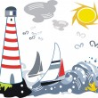 Vector cartoon of yachts in stormy sea near lighthouse. — Stock Vector
