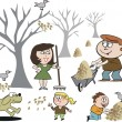 Vector cartoon of happy family clearing fallen leaves in autumn. — Image vectorielle