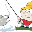 Vector cartoon of angler catching fish from stream. — Stock Vector