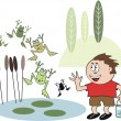 Vector cartoon of small boy collecting frogs in pond. — Stock Vector