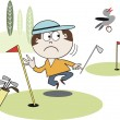 Vector cartoon of golfer watching bird fly away with ball. — Stock Vector