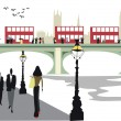 Vector illustration of Embankment area London with double decker buses on Westminster Bridge. — Stock Vector