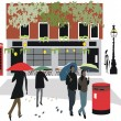 Vector illustration of London pub with pedestrians walking in rain. - Stock Vector