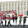 Vector illustration of people in London street with red bus and building. - Stock Vector