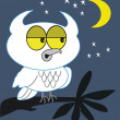 Owl at night cartoon — Stock Vector