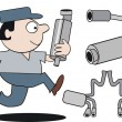 Vector cartoon of mechanic running with car mufflers. - Stock vektor