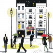 Vector de stock : Vector illustration of London city scene at night with pedestrians.