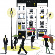 Vector illustration of London city scene at night with pedestrians. — Vector de stock #26343645