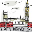 Vector illustration of London England showing parliament and red bus street scene. — Stock Vector