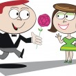 Vector cartoon of man present rose to woman. — Stock Vector