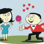 Vector cartoon of Asian man proposing to woman. — Stock Vector #26343701