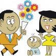 Vector cartoon of African American man giving flowers to wife and baby. - Stock Vector