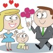 Vector cartoon of man bringing bouquet of roses to wife and baby. — Stock Vector