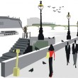 Vector de stock : Vector illustration of walking along London city Embankment.