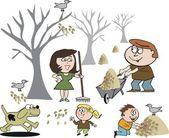 Dibujos animados de vector de familia feliz limpiando hojas caídas en otoño. — Vector de stock
