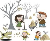 Vector cartoon of happy family clearing fallen leaves in autumn. — Stockvector