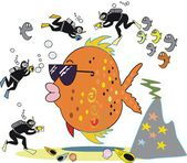 Vector cartoon of large orange fish being photographed by skin divers. — Stock Vector